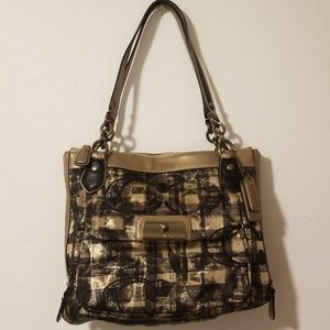 COACH gold/tan cloth and leather shoulder bag